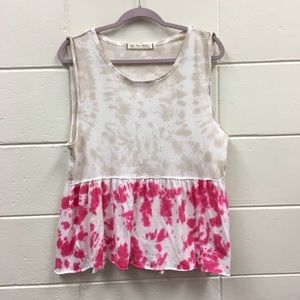 Free People We The Free Tie Dye Top Pink White Tan